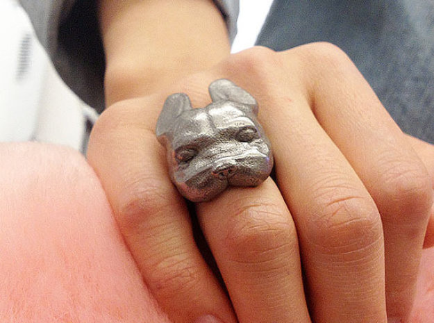 French Bulldog Ring Frenchie Face in Polished Nickel Steel