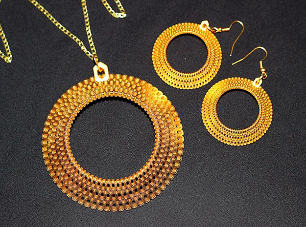 Crochet Pendant (steel and plastic) in Polished Gold Steel