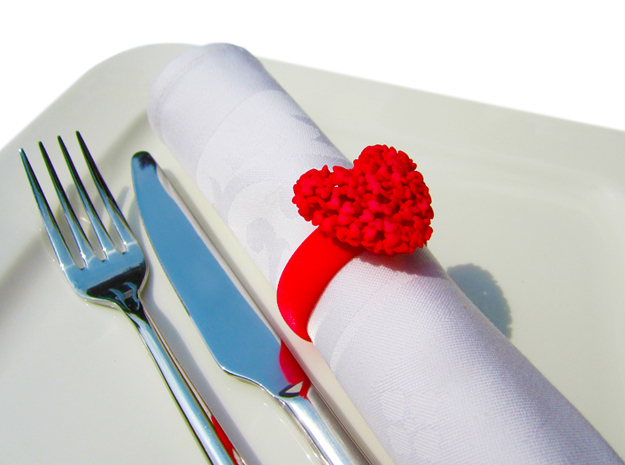 365 Hearts Napkin Ring in Red Processed Versatile Plastic