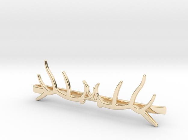 Elk Antler Tie Clip Double in 14k Gold Plated