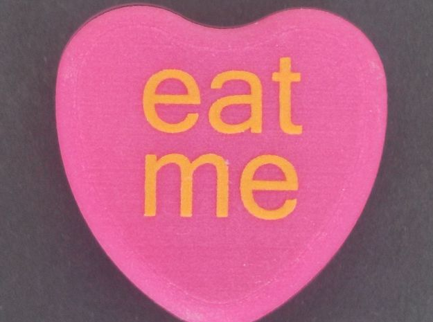 "Candy Heart ""eat me"" - Pink/Yellow 3d printed"