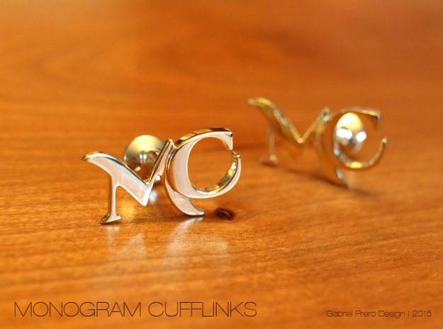 Monogram Cufflinks MC in 18k Gold Plated