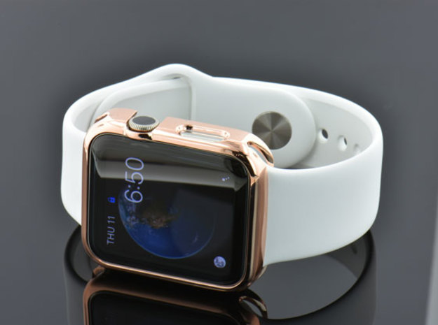 Apple Watch Gold Cover Case 42mm in 14k Rose Gold Plated Brass
