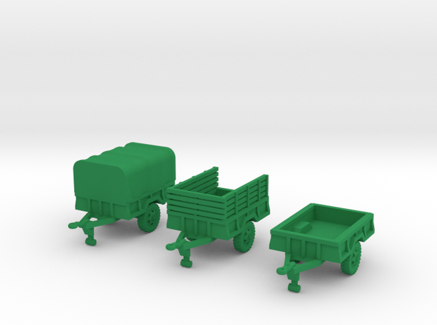M105a2 Trailer Set in Green Processed Versatile Plastic: 1:144