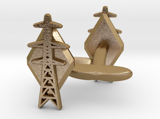 L6 Pylon Cufflinks in Polished Gold Steel