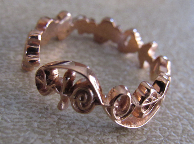 """""""Live Long & Prosper"""" Ring - Cut Style in 14k Rose Gold Plated: 7 / 54"""