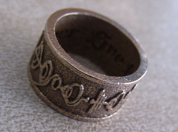 """Live Long & Prosper"" Ring - Embossed Style in Polished Bronzed Silver Steel: 5 / 49"
