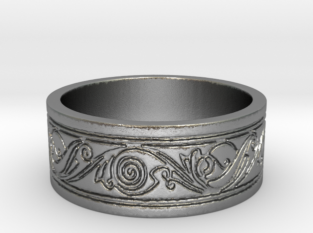 Viking Swirled Linework Ring in Natural Silver