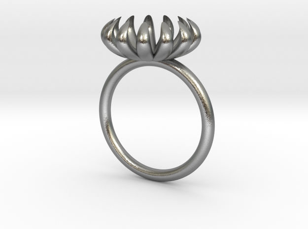 Opening Smaller Bloom ring in Natural Silver