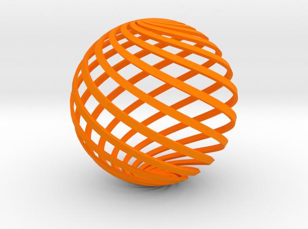 Loxodrome ornament 2 in Orange Processed Versatile Plastic