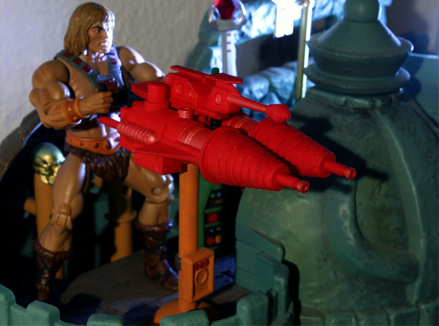 Castle Grayskull Prototype Turret Cannon in Red Processed Versatile Plastic