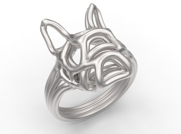 French Bulldog Ring Wire Size 7 in Rhodium Plated Brass