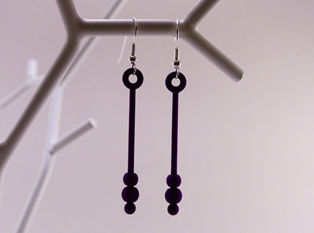 Three Orbs - Earrings in White Natural Versatile Plastic