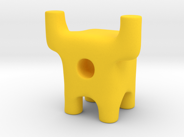 Tiny Longhorn Ugly Friend in Yellow Processed Versatile Plastic