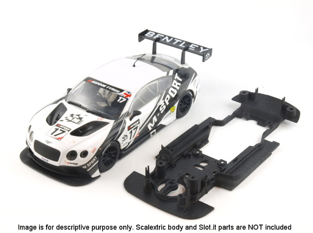 S06-ST1 Chassis for Scalextric Bentley GT3 STD/LMP in White Natural Versatile Plastic