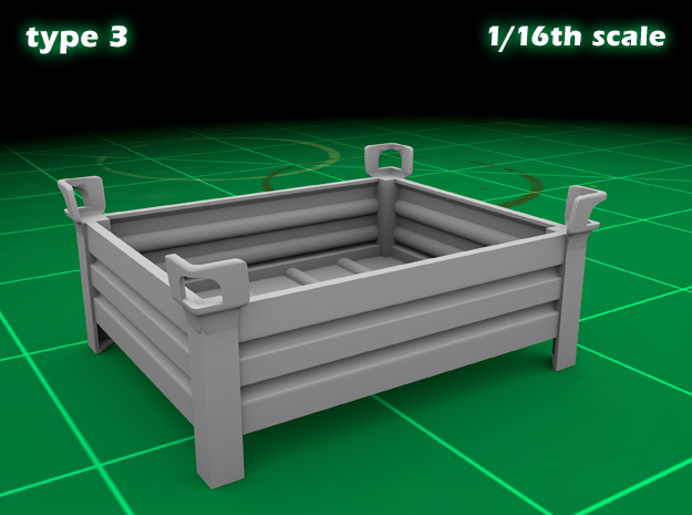 Stakable Container type 3 (1x - 1/16) in Smooth Fine Detail Plastic
