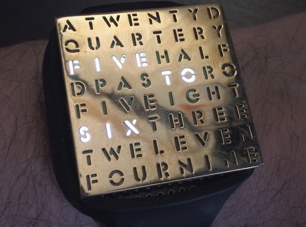 Timesquare Wordclock faceplate (Stencil font) in Polished Brass