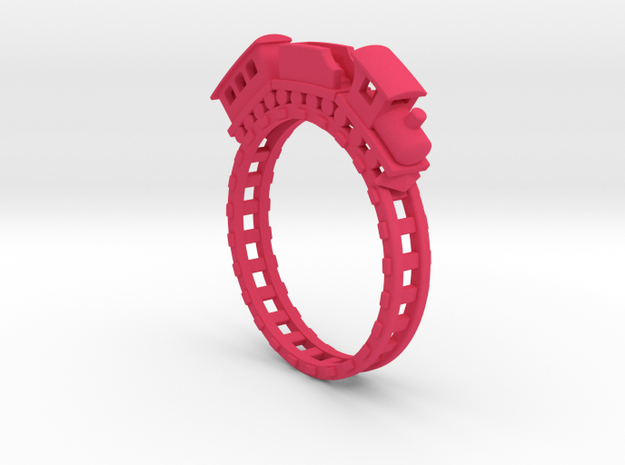 Tiny Train Ring.stl in Pink Processed Versatile Plastic