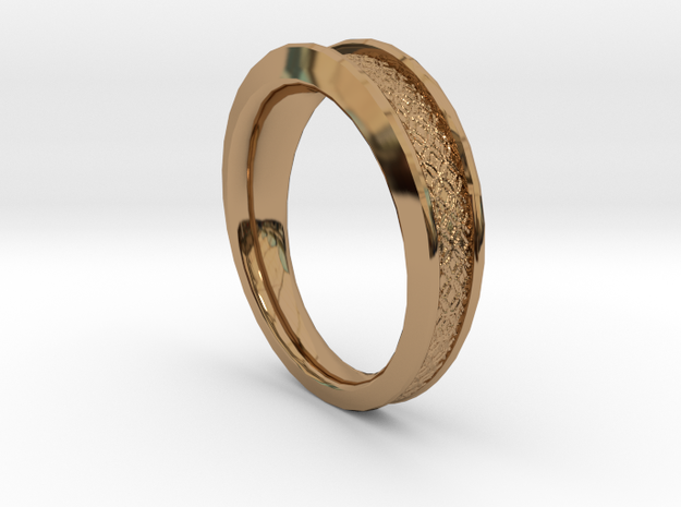 Detailed Ring in Polished Brass