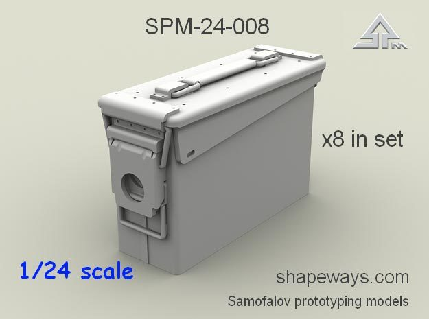 1/24 SPM-24-008  30.cal (7,62mm) ammobox in Frosted Extreme Detail