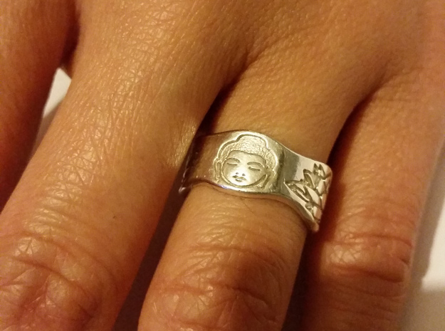 Buddha and Lotus Ring Size 4.5 in Premium Silver