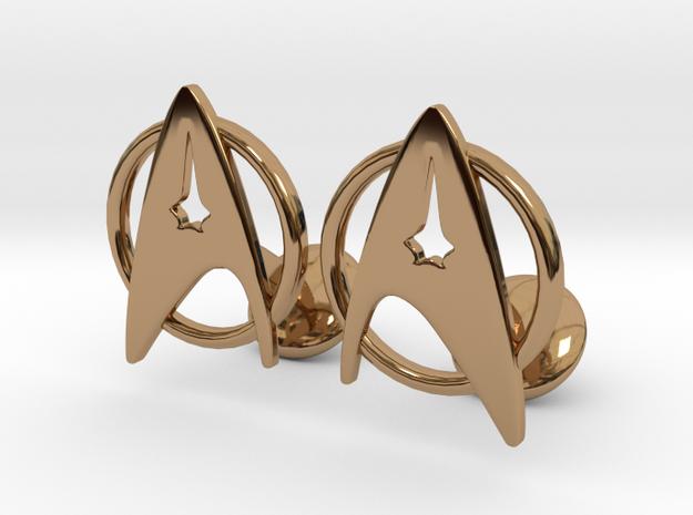 StarTrek Cuffliknks in Polished Brass