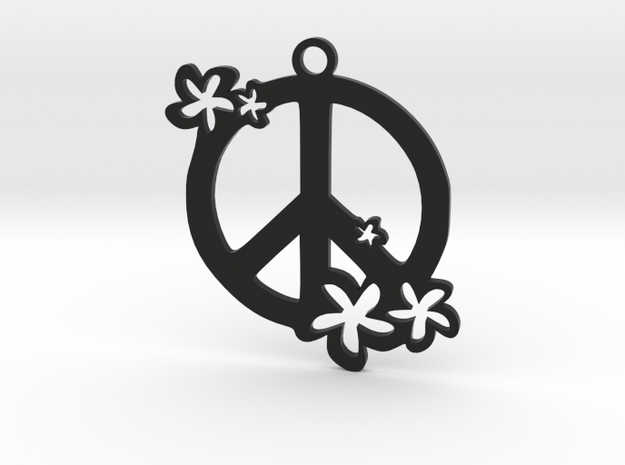Peace Flowers Pendant in Black Strong & Flexible