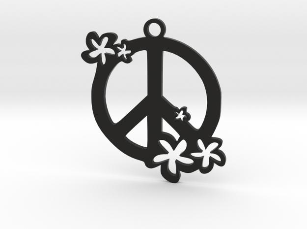 Peace Flowers Pendant in Black Natural Versatile Plastic