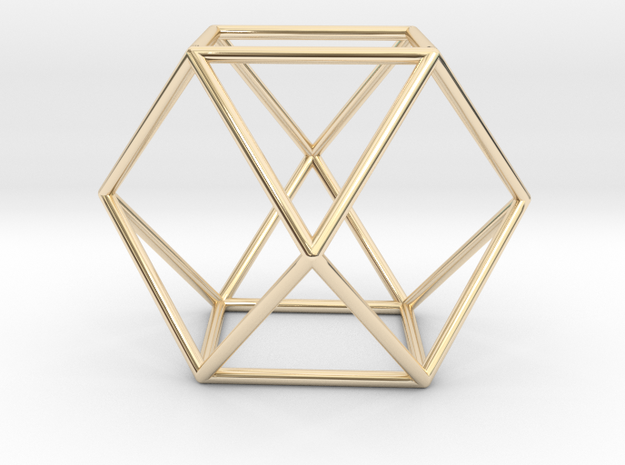 Vector Equilibrium - Cuboctahedron 40mm Sacred Geo in 14k Gold Plated Brass