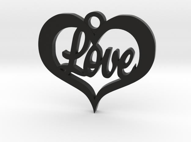 Love Heart  in Black Natural Versatile Plastic