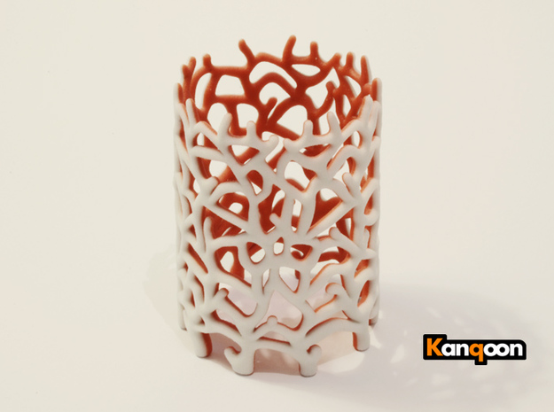 Coraline Tealight White/Red Sandstone in Full Color Sandstone