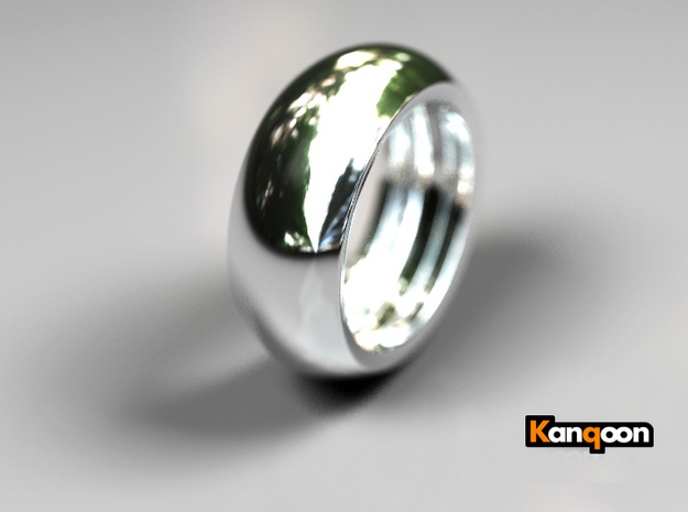 Ralph Hollow - Ring - US 9 - 19 mm inside diameter 3d printed Polished Silver PREVIEW