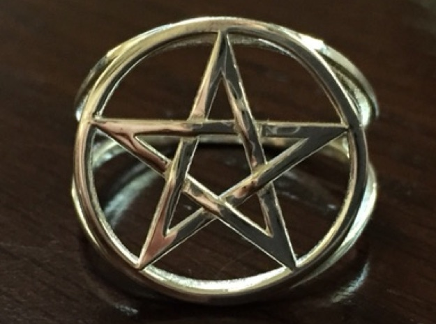 Pentacle ring (customize) 3d printed Pentacle ring, braided style, in polished silver. Photo by Amy Rose.