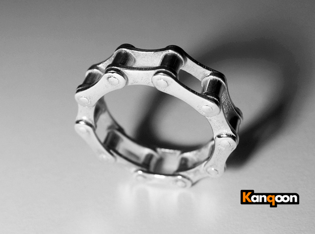 Violetta S - Bicycle Chain Ring 3d printed Preversion Polished Silver printed in US 9 - All plates now thicker -see in  all other previews