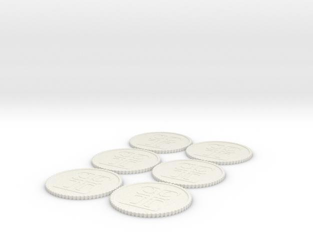 Inq Tokens (1,2,2,3,3,4) Roman Numerals in White Natural Versatile Plastic