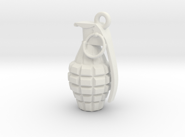 Grenade pendant in White Strong & Flexible