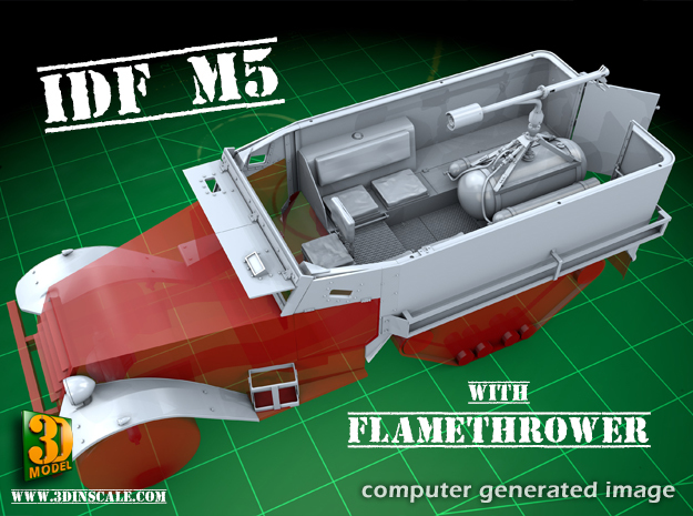 IDF M5 Halftrack with Flamethrower in Smooth Fine Detail Plastic