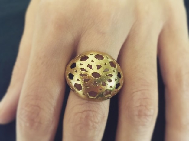 Jali Ring in Natural Brass