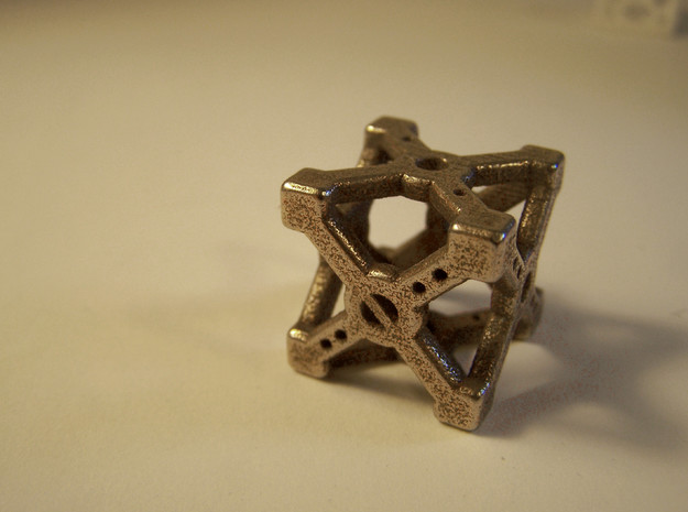 Cross D6 Die in Polished Bronzed Silver Steel
