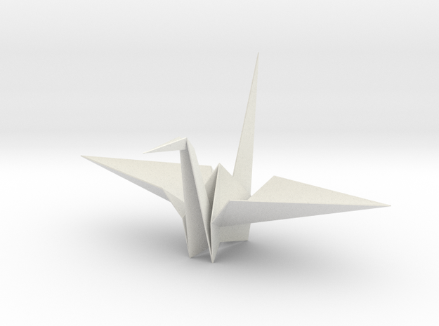 Fold Origami Crane 3D in White Natural Versatile Plastic