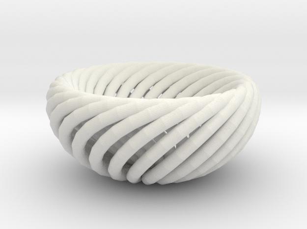Torus bowl in White Natural Versatile Plastic
