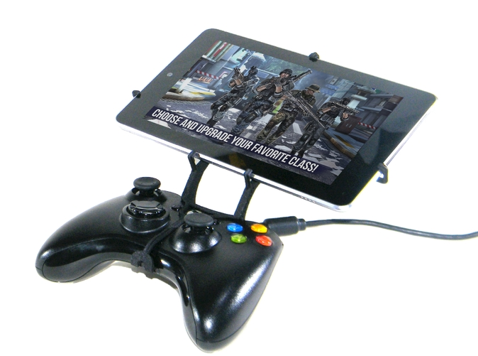 Front View - A Nexus 7 and a black Xbox 360 controller