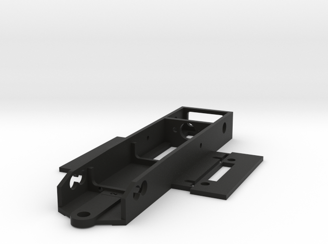 The chassis as delivered from Shapeways. Body mounts are integrated in the design