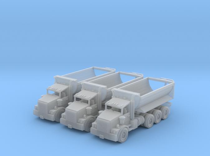 3 tri Axle cylinder dump trucks N scale