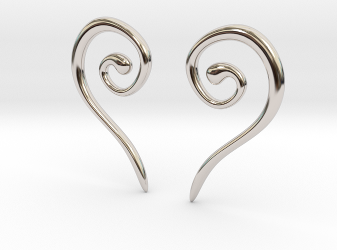 Medieval Half Heart earrings rhodium