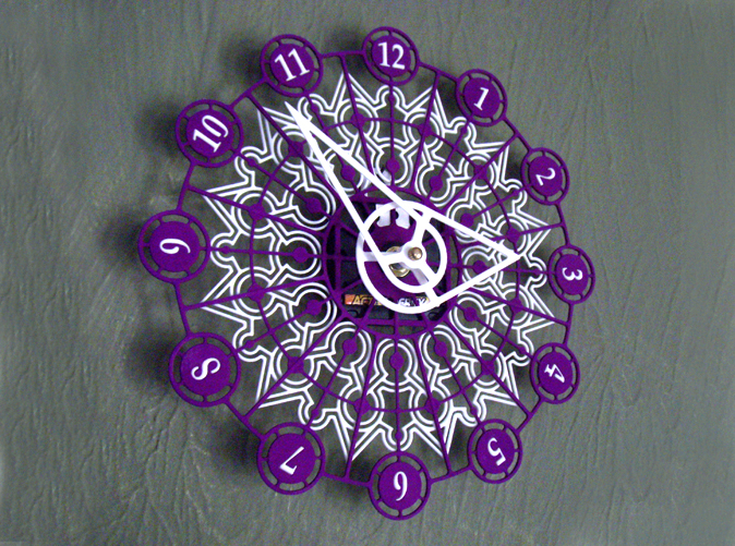 The completed Kaleidoscope Clock with Part A in Purple Strong & Flexible and Part B in White Strong & Flexible.This is a two-part clock face kit. This model is Part B. The first part is available at http://www.shapeways.com/model/580491