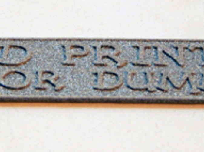 """Example key-fob from my book """"3D Printing for Dummies"""" printed in Alumide."""