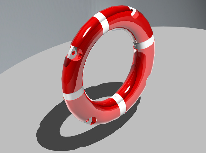 Lifebelt in coloured, rendered view.