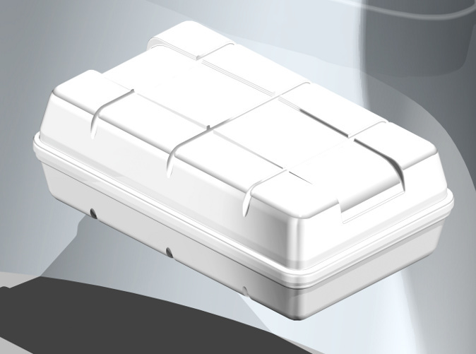 Life raft in coloured, rendered view