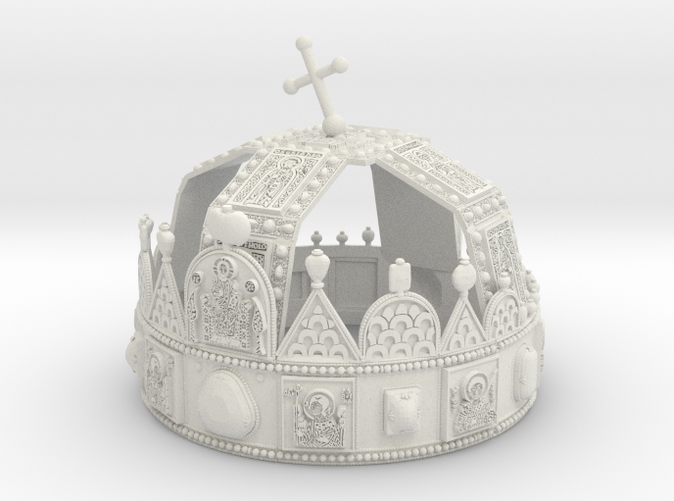 "3dprinted model of ""Hungarian Holly Crown - half scale"". Material: Frosted Ultra Detail.Photo about 3dprint ""Hungarian Holly  Corwn - half scale"". Material ""White Strong & Flexible"" - good deal but not so detailed as Frosted Ultra Detail."